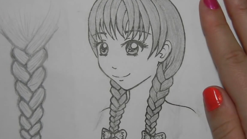 How to draw anime hair female braids