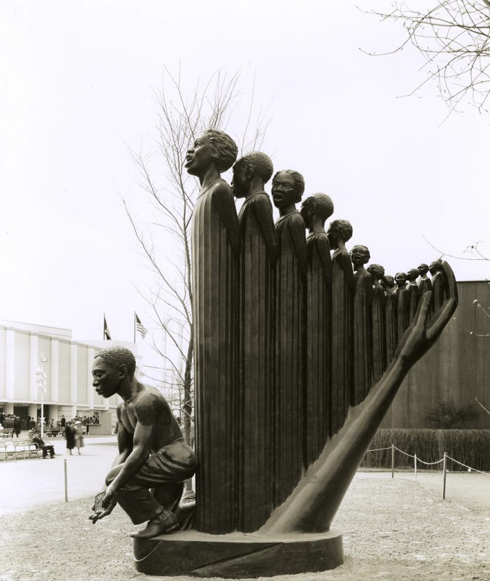 Zp the harp by augusta savage displayed outdoors at the 1939 worlds fair in new york city