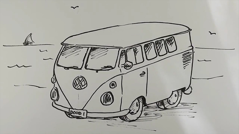 How To Draw A Vw Camper Van Curious Com