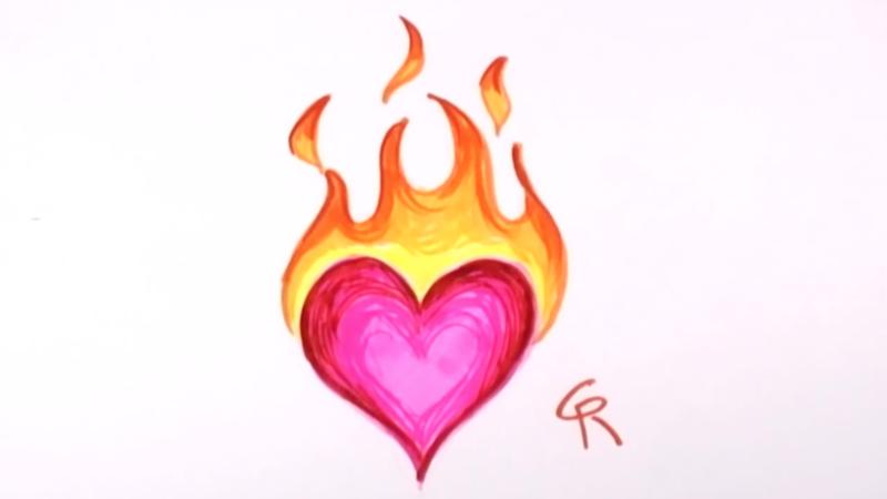 How to Draw a Flaming Heart | Curious.com