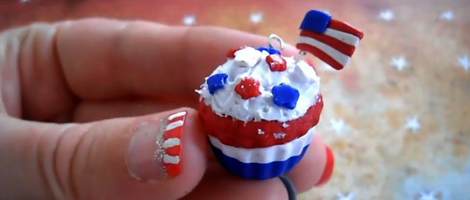 Making 4th of July Polymer Clay Cupcakes