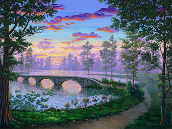 "Latest course from Ben Saber: Painting ""Sunset Lake"" Acrylic Landscape"