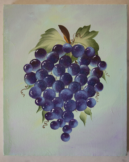 One Stroke Grapes On Canvas