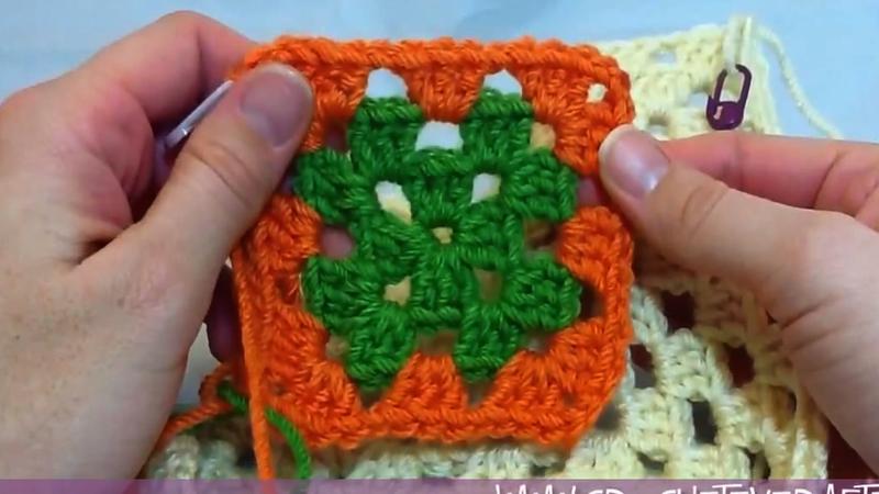 Left Handed Crochet Granny Square Motif