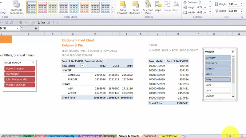 Inserting a Slicer in Excel Pivot Tables