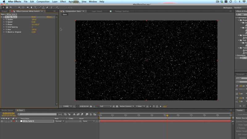 Using CC Star Burst in After Effects