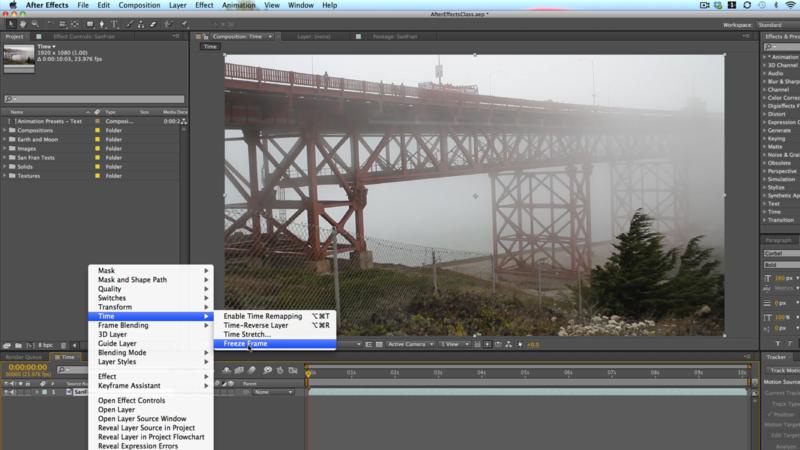 Applying Freeze Frame in After Effects