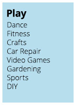 Play: Dance, Fitness, Crafts, Car Repair, Video Games, Gardening, Sports, DIY.