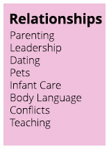 Relationships: Parenting, Leadership, Dating, Pets, Infant Care, Body Language, Conflicts, Teaching