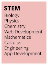 STEM: Biology, Physics, Chemistry, Web Development, Mathematics, Calculus, Engineering, App Development