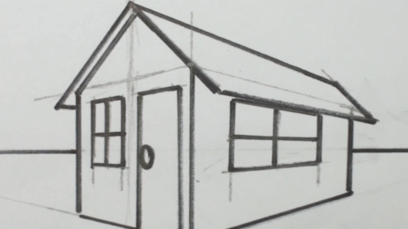 How to draw a 3d house