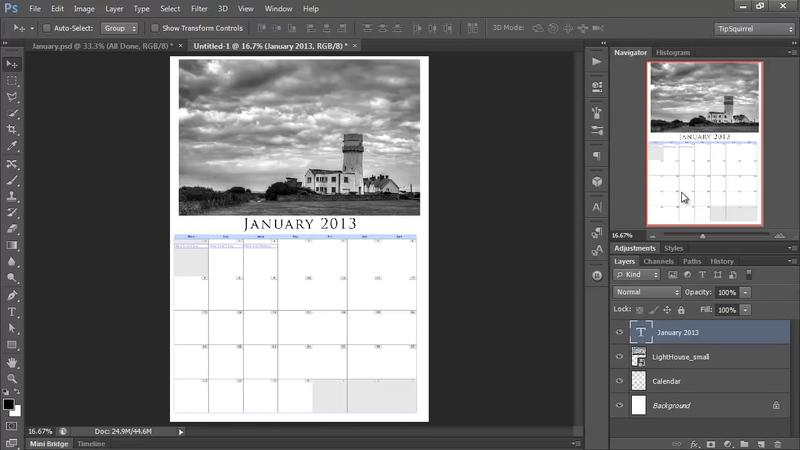 Super Easy DIY Calendar in Photoshop