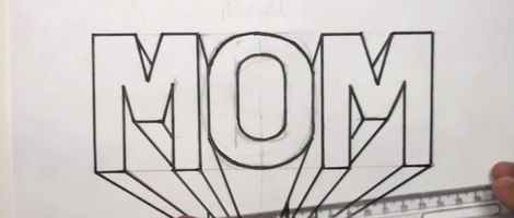 How to Draw Mom in 3D Letters