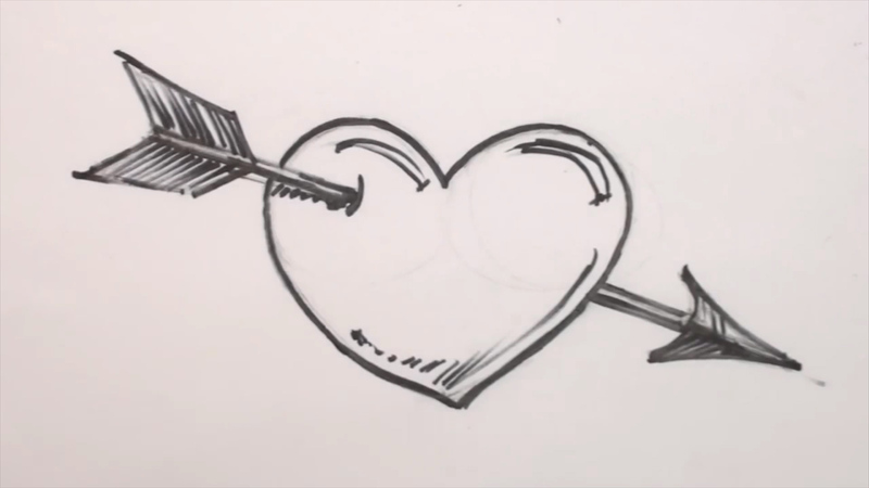 Heart Drawing how to draw a heart and arrow